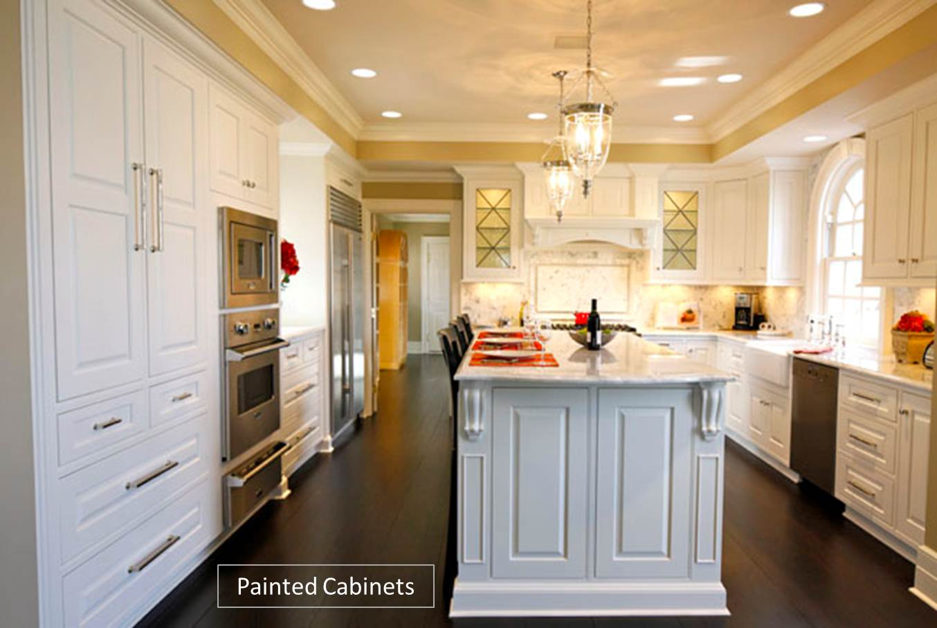 Custom kitchen cabinets painted vs stained for Can you paint over stained kitchen cabinets