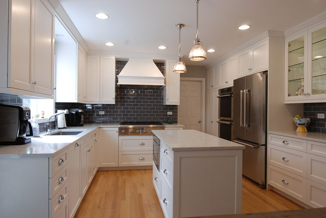 White Transitional Kitchen in Northbrook, IL